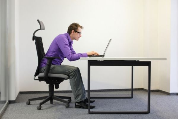 Sloppy sitting posture at the office